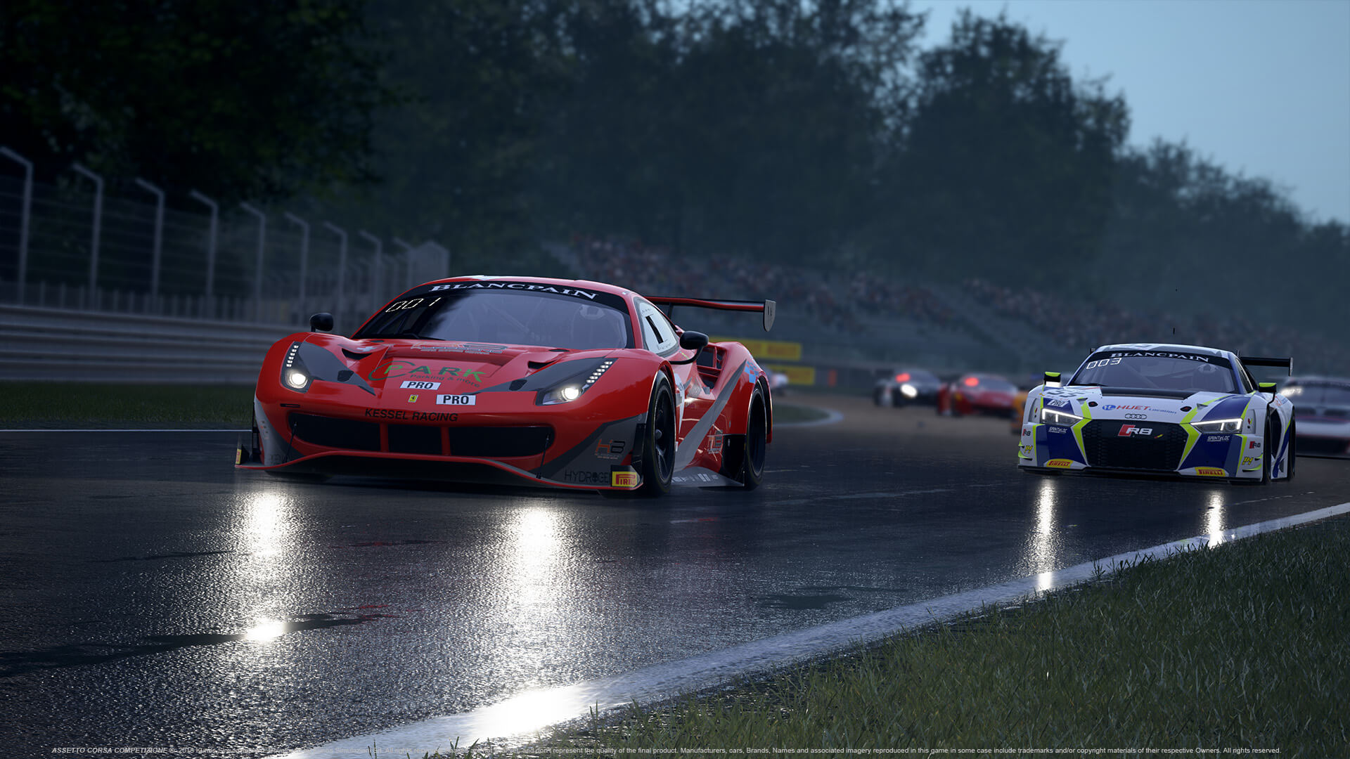 Assetto Corsa Competizione with weather effects such as rain and a drying track.